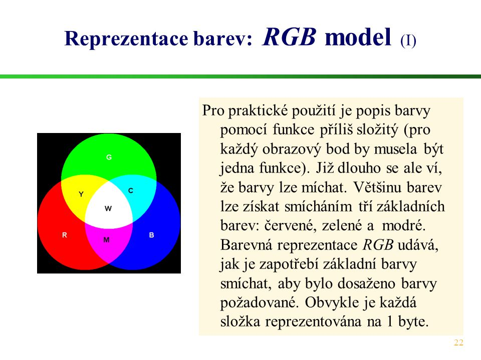 Reprezentace barev: RGB model (I)