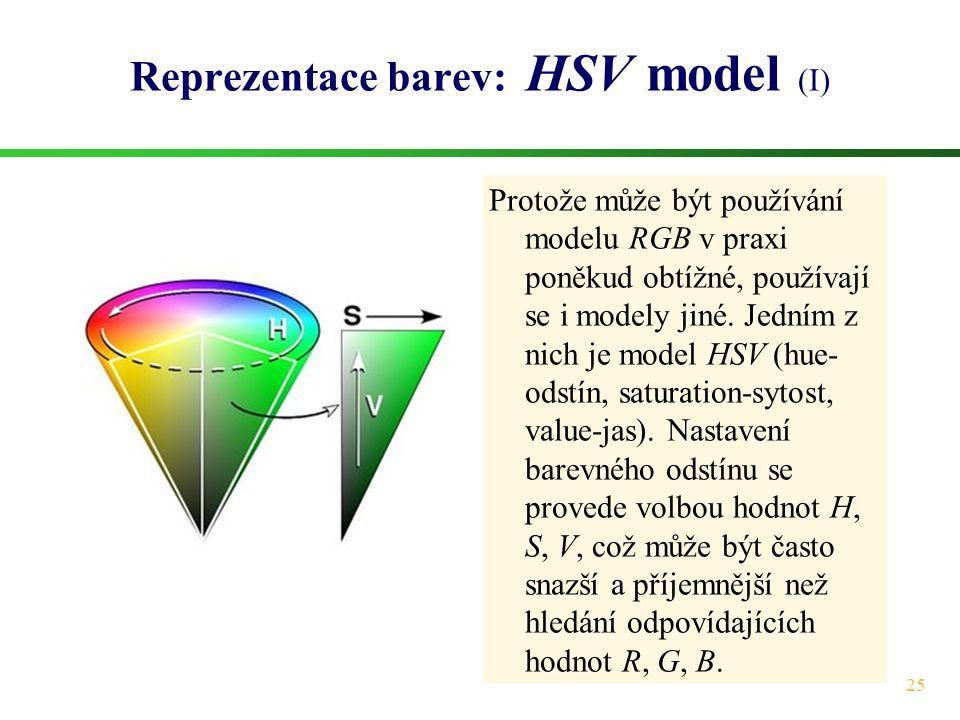 Reprezentace barev: HSV model (I)