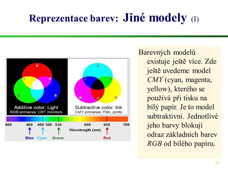 Reprezentace barev: Jiné modely (I)