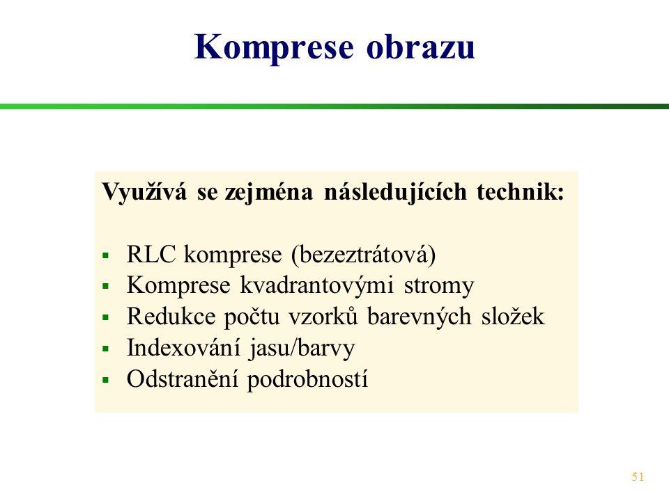 Komprese obrazu Využívá se zejména následujících technik: