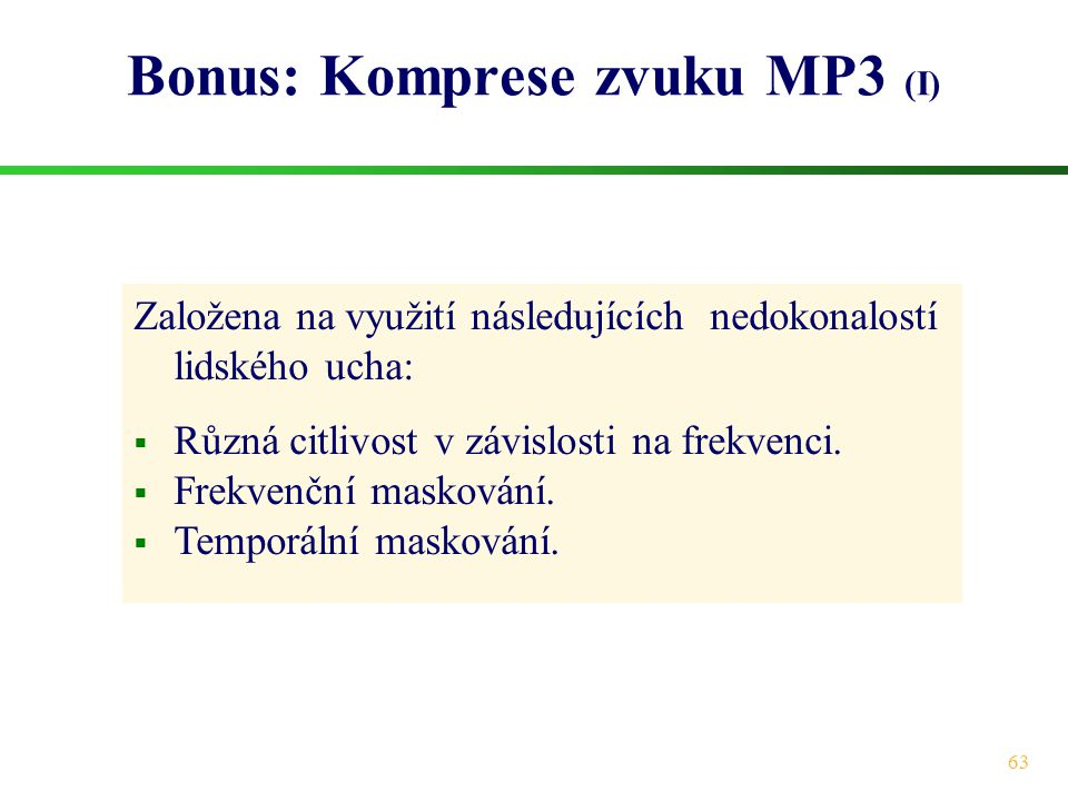 Bonus: Komprese zvuku MP3 (I)