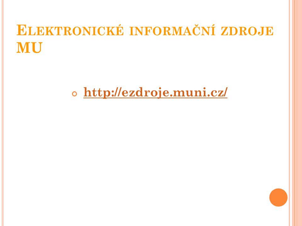 Elektronické informační zdroje MU