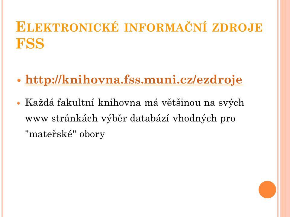 Elektronické informační zdroje FSS
