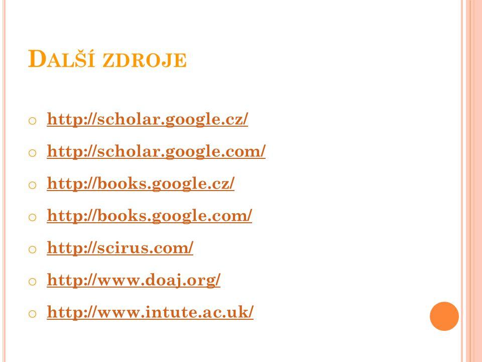 Další zdroje http://scholar.google.cz/ http://scholar.google.com/