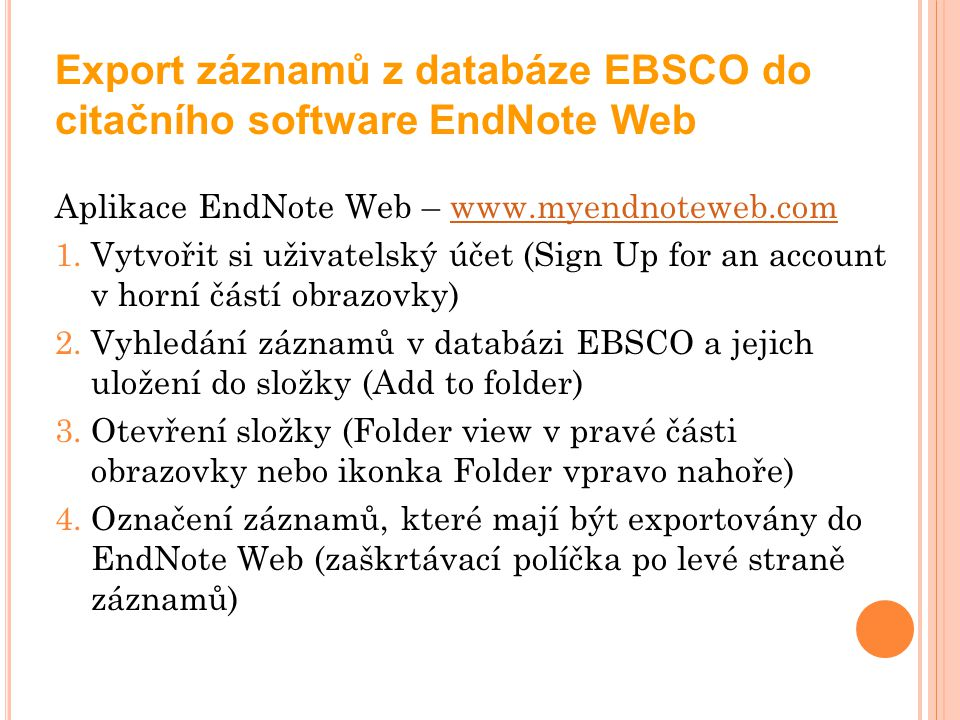 Export záznamů z databáze EBSCO do citačního software EndNote Web