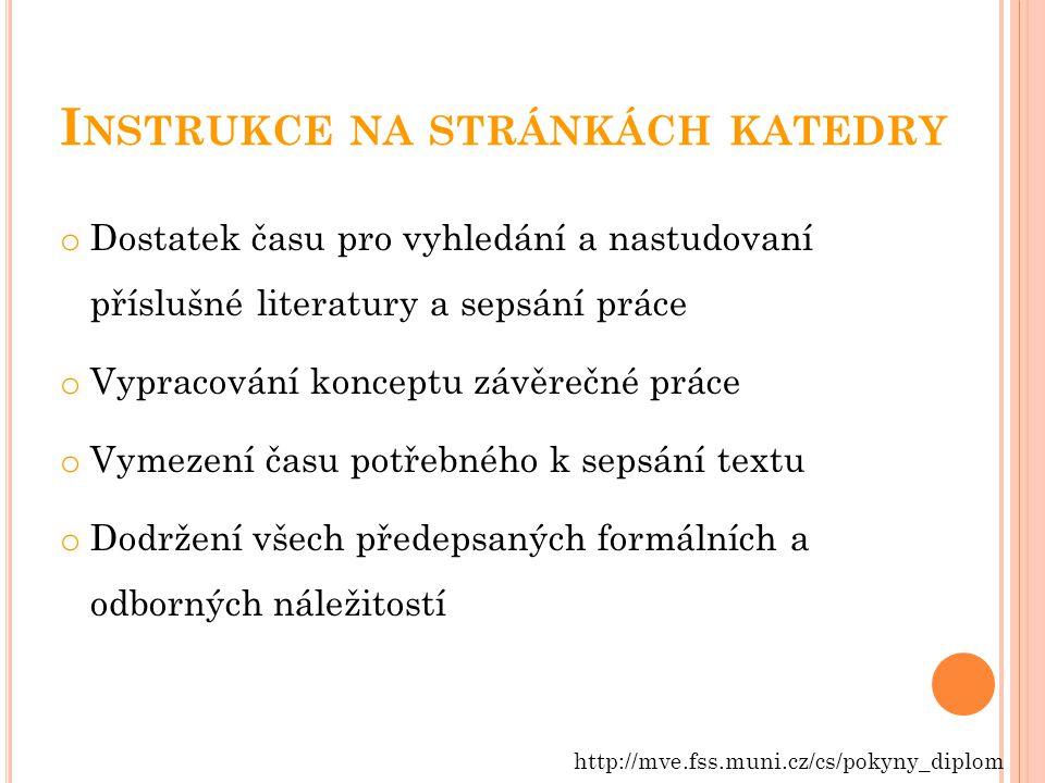 Instrukce na stránkách katedry