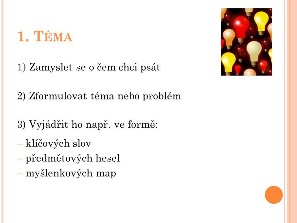 1. Téma 2) Zformulovat téma nebo problém