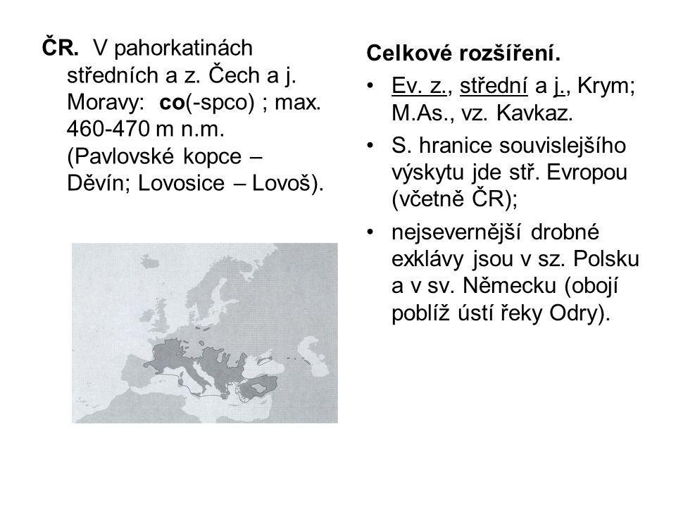 ČR. V pahorkatinách středních a z. Čech a j. Moravy: co(-spco) ; max