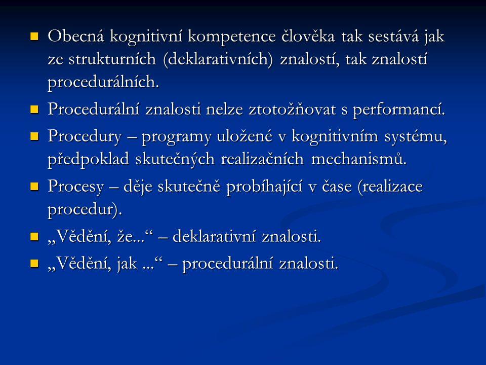 Obecná kognitivní kompetence člověka tak sestává jak ze strukturních (deklarativních) znalostí, tak znalostí procedurálních.