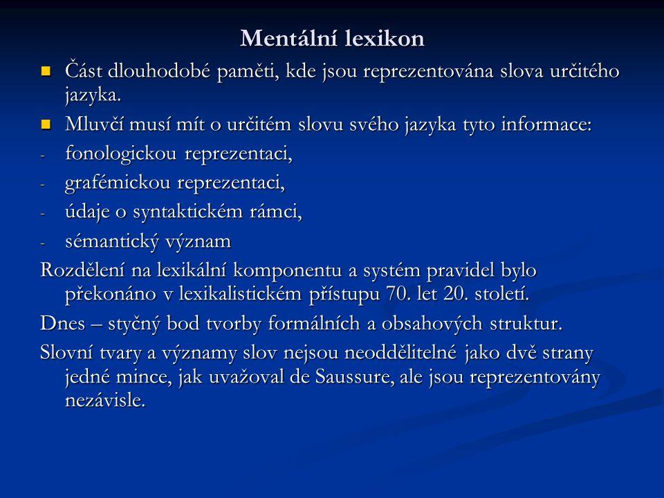 Mentální lexikon Část dlouhodobé paměti, kde jsou reprezentována slova určitého jazyka. Mluvčí musí mít o určitém slovu svého jazyka tyto informace: