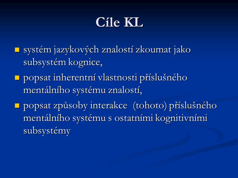 Cíle KL systém jazykových znalostí zkoumat jako subsystém kognice,