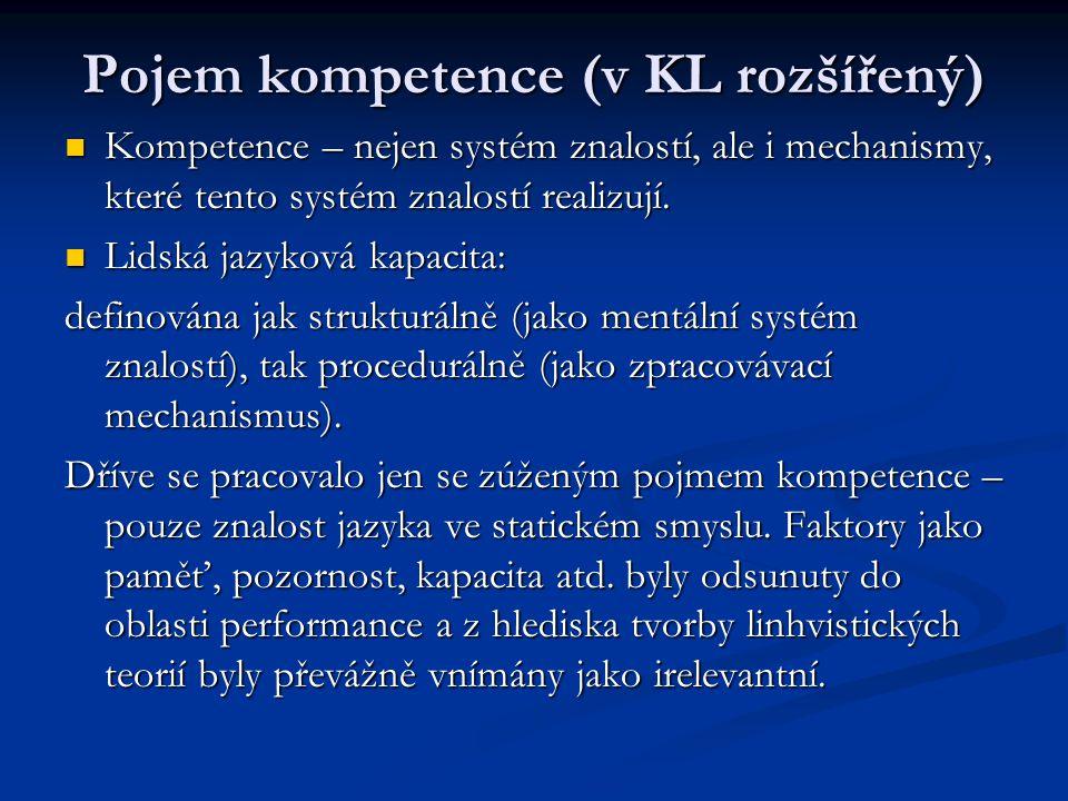Pojem kompetence (v KL rozšířený)