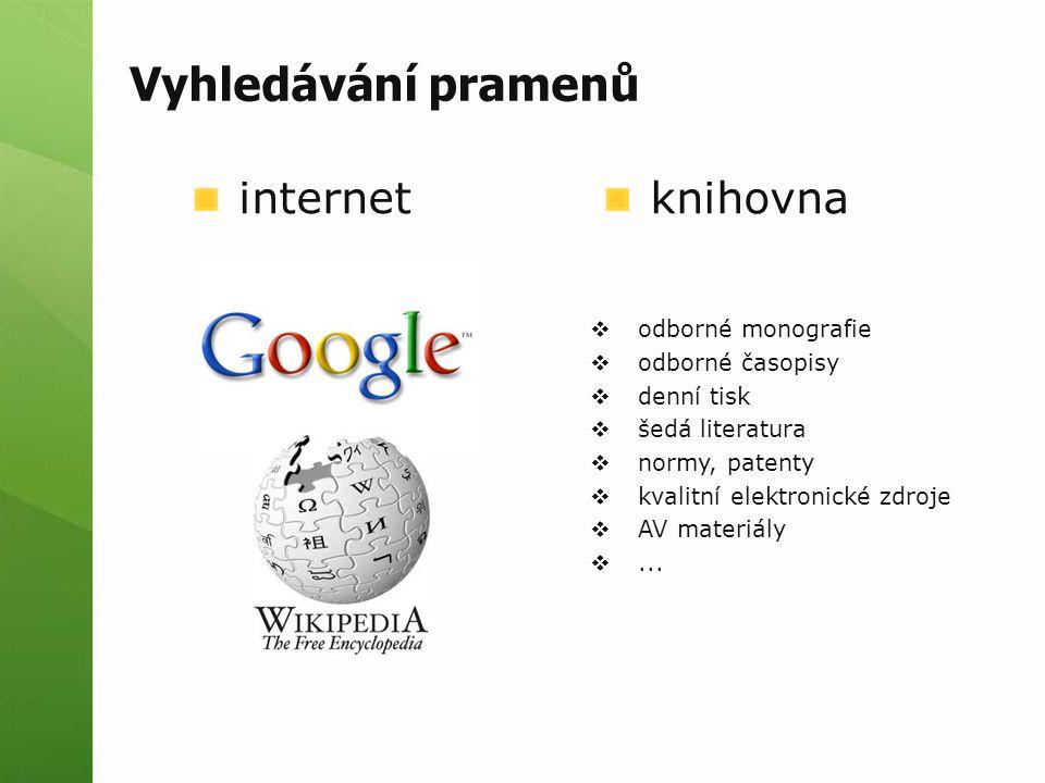 Vyhledávání pramenů internet knihovna odborné monografie