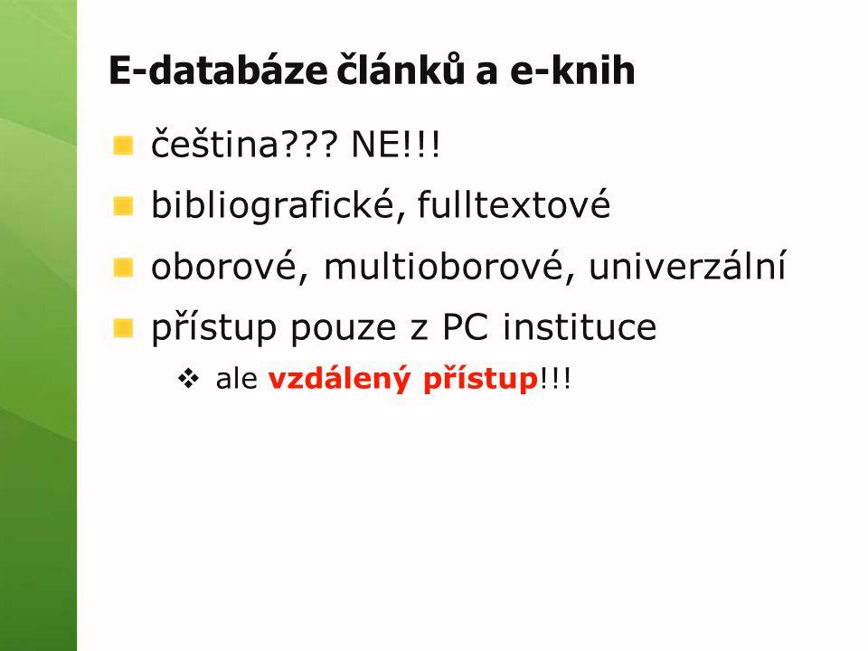 E-databáze článků a e-knih