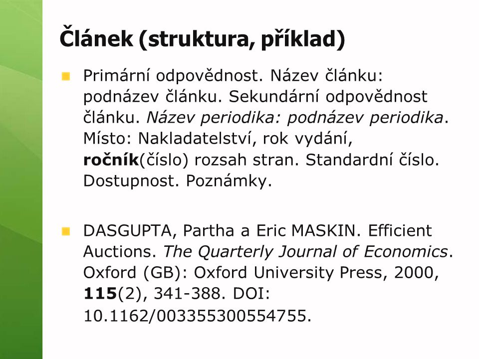 Článek (struktura, příklad)