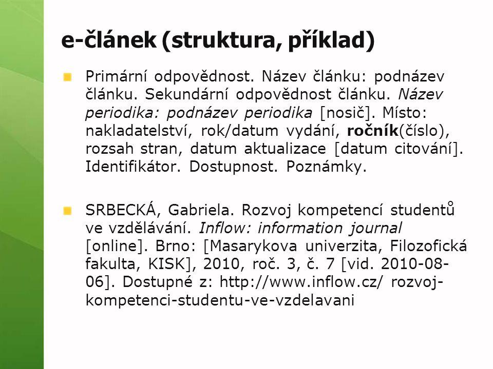 e-článek (struktura, příklad)
