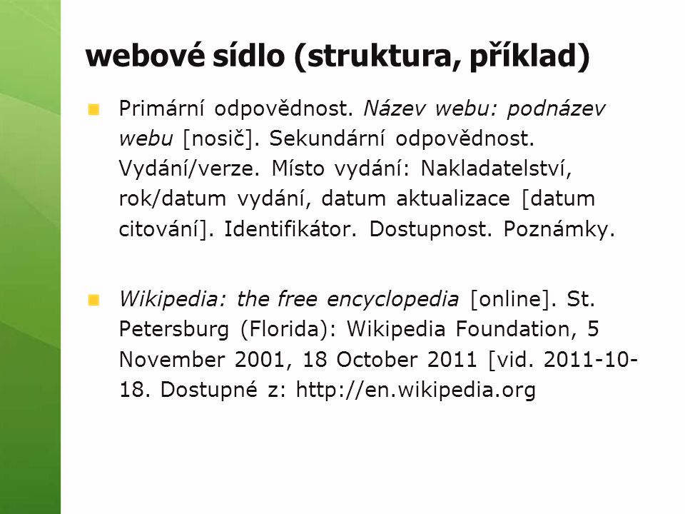 webové sídlo (struktura, příklad)