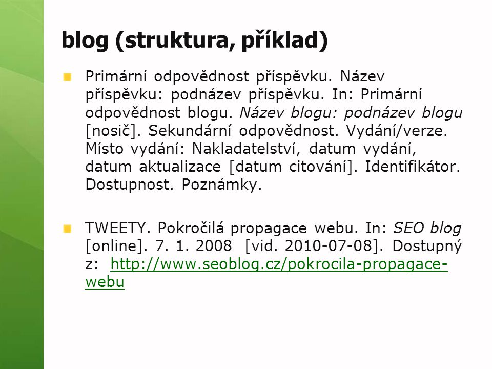 blog (struktura, příklad)