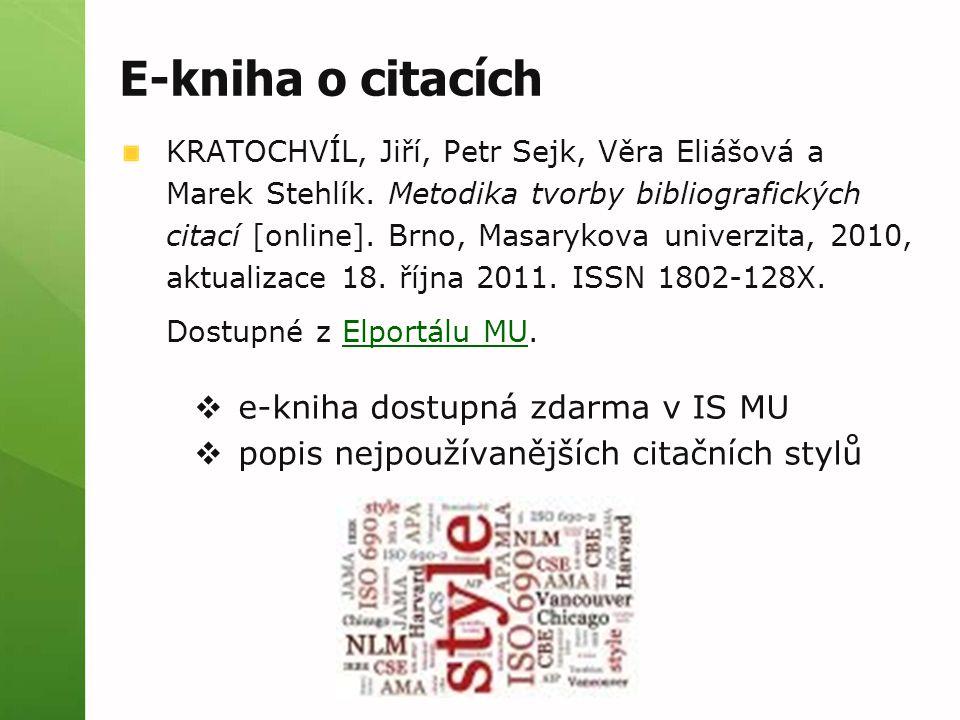 E-kniha o citacích e-kniha dostupná zdarma v IS MU