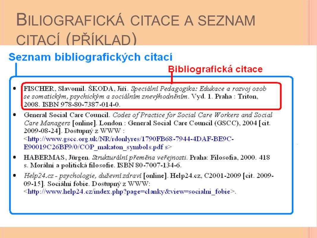 Biliografická citace a seznam citací (příklad)