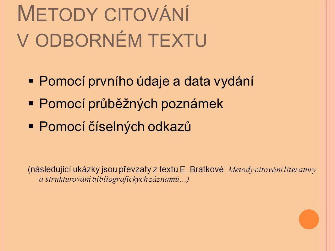 Metody citování v odborném textu