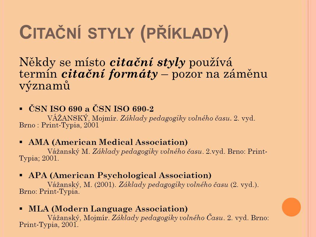 Citační styly (příklady)