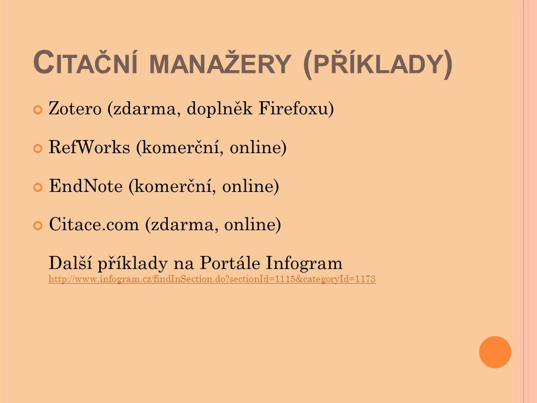 Citační manažery (příklady)