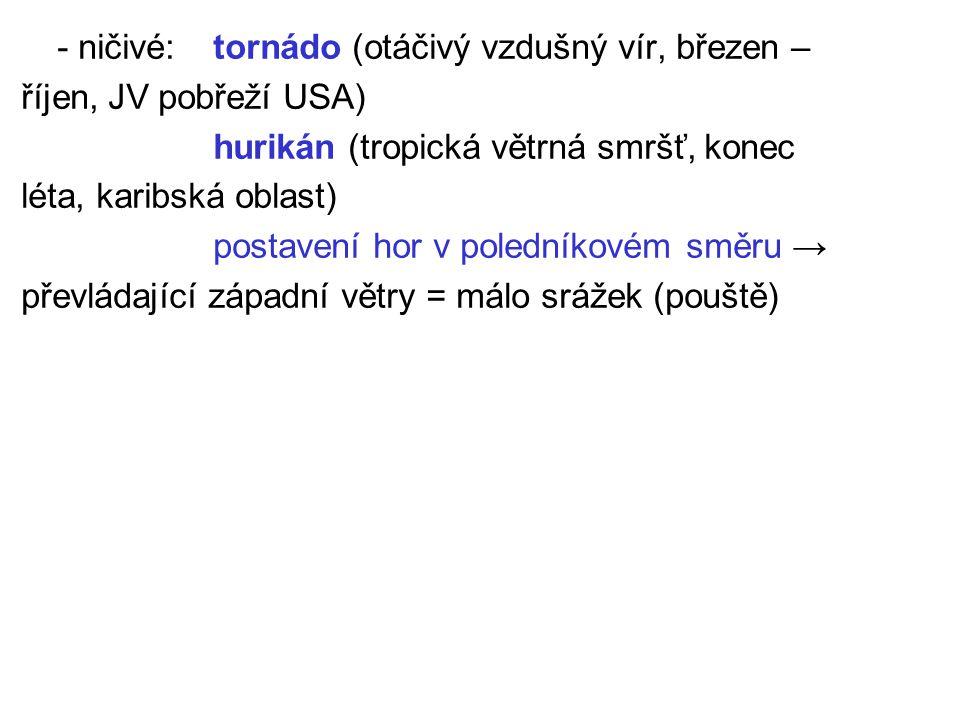 - ničivé: tornádo (otáčivý vzdušný vír, březen –