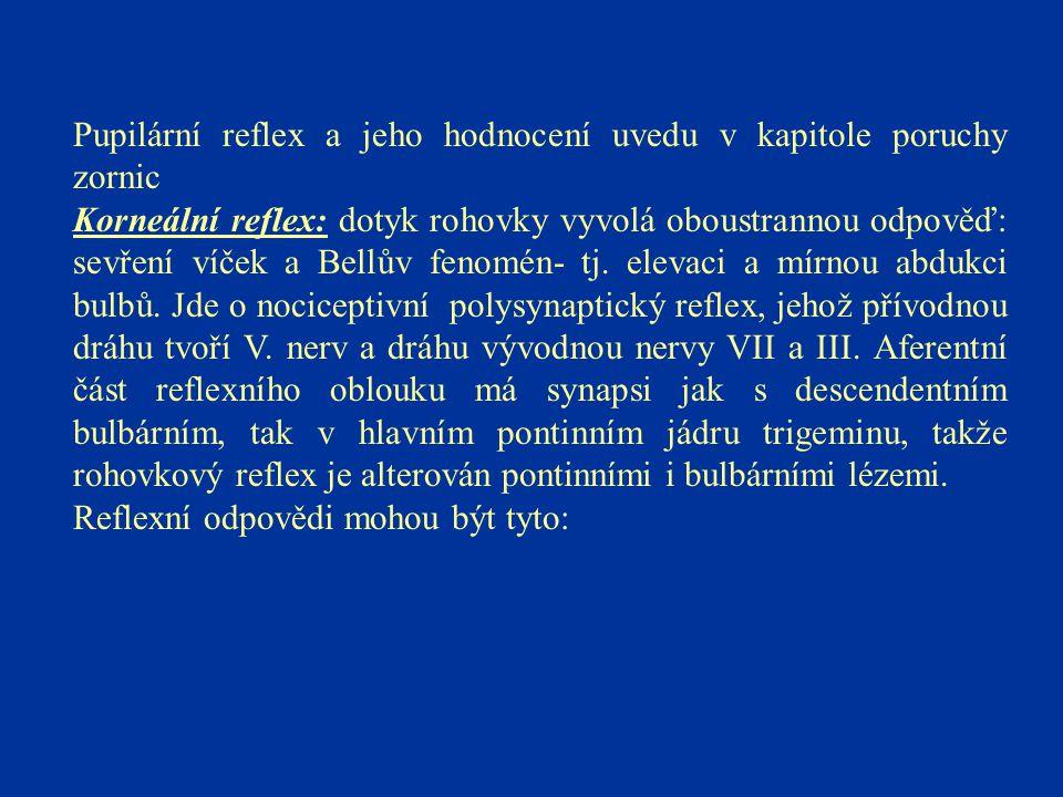 Pupilární reflex a jeho hodnocení uvedu v kapitole poruchy zornic