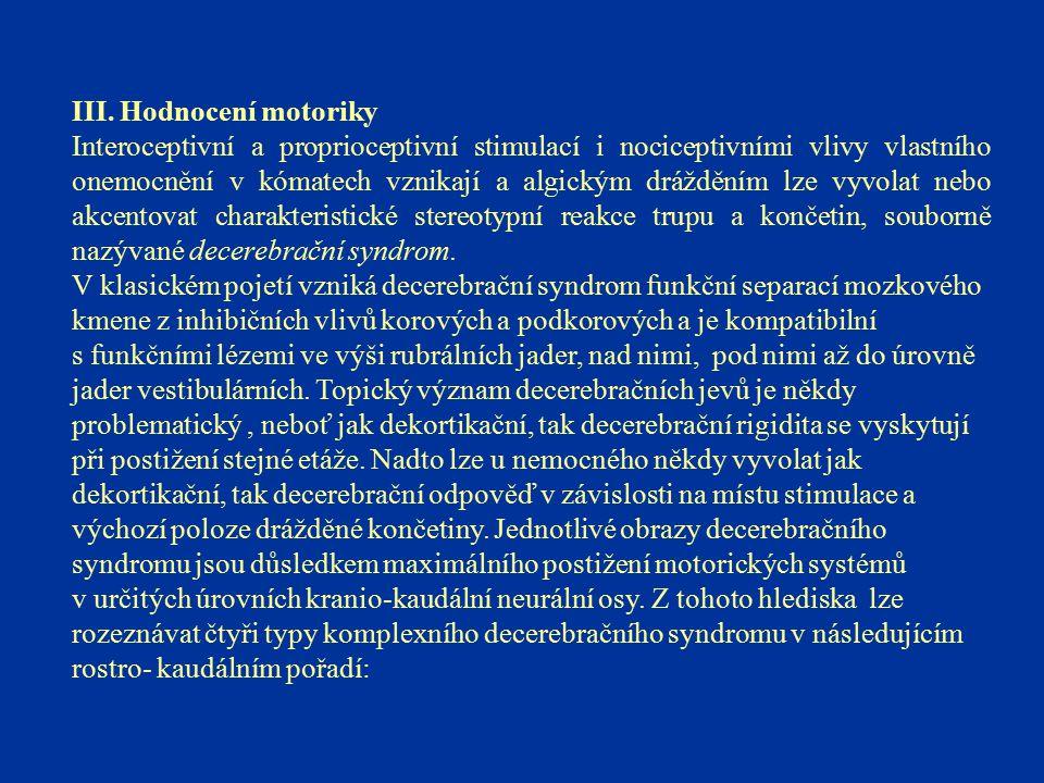 III. Hodnocení motoriky