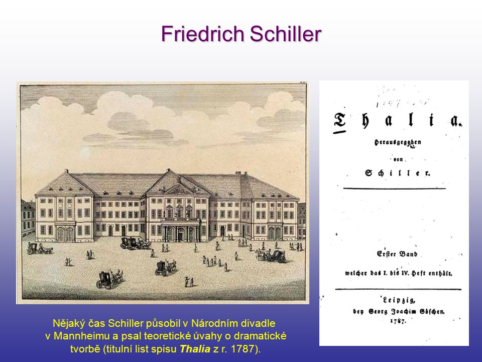 Friedrich Schiller Nějaký čas Schiller působil v Národním divadle