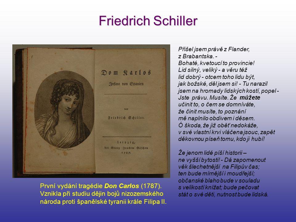 Friedrich Schiller První vydání tragédie Don Carlos (1787).