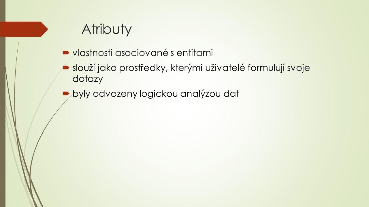 Atributy vlastnosti asociované s entitami