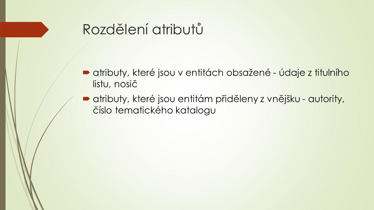 Rozdělení atributů atributy, které jsou v entitách obsažené - údaje z titulního listu, nosič.