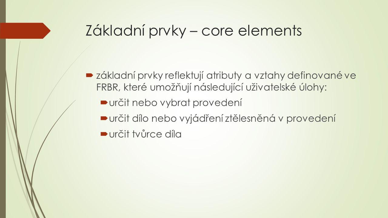 Základní prvky – core elements