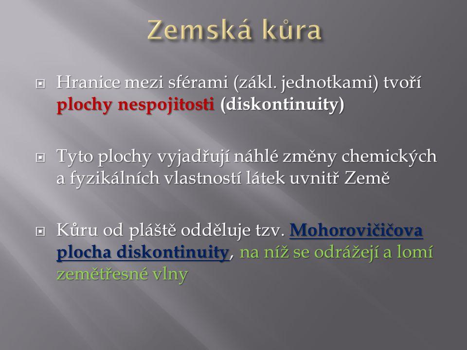 Zemská kůra Hranice mezi sférami (zákl. jednotkami) tvoří plochy nespojitosti (diskontinuity)