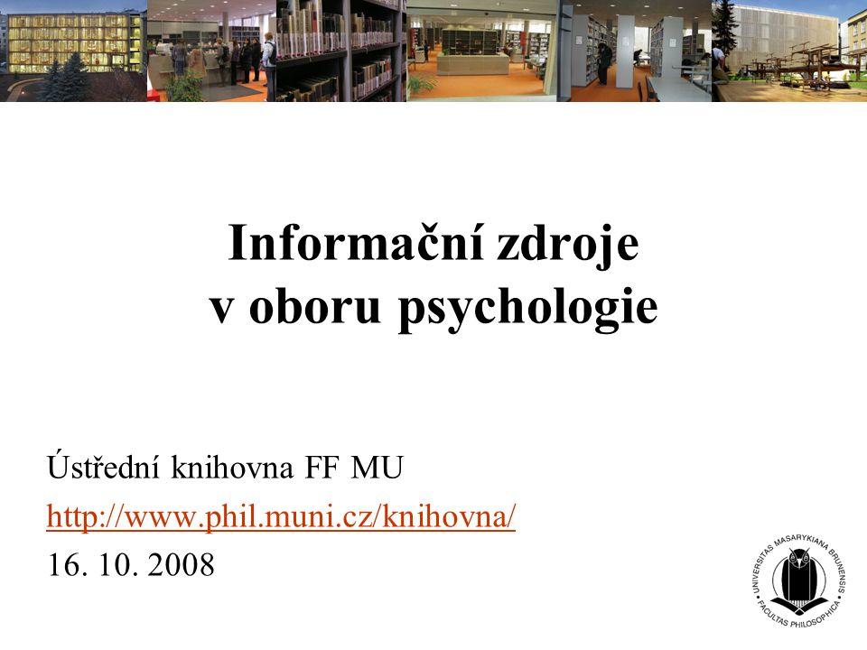 Informační zdroje v oboru psychologie
