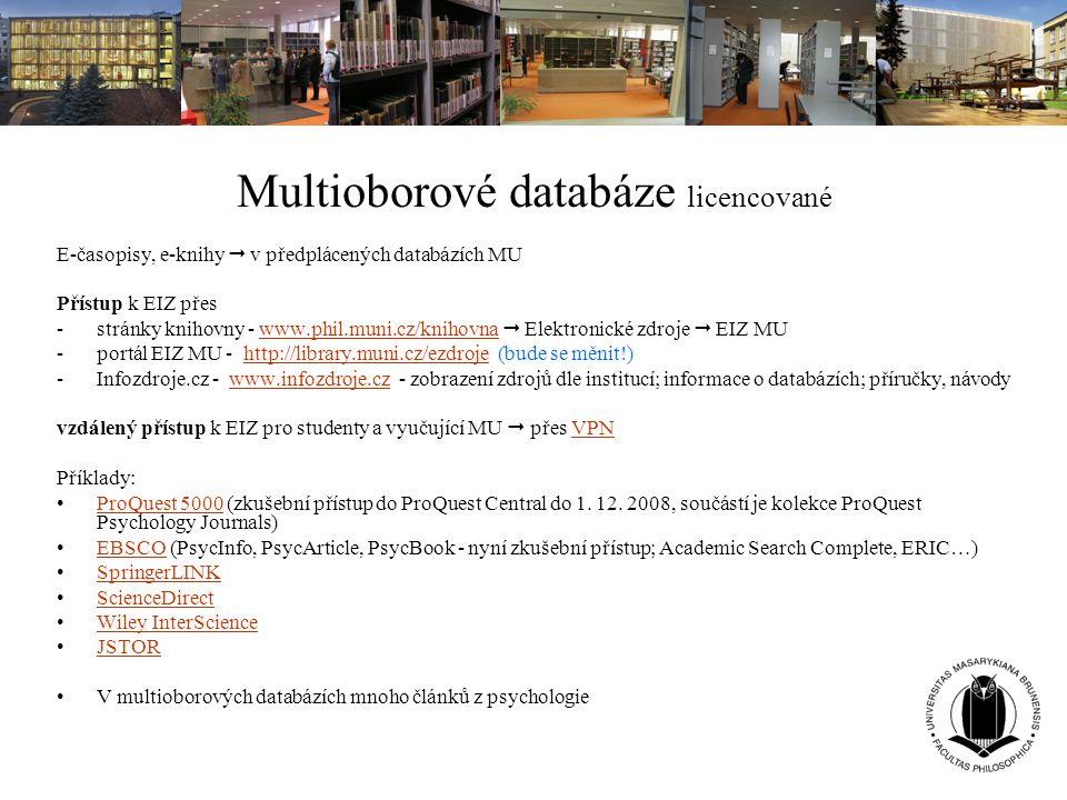 Multioborové databáze licencované