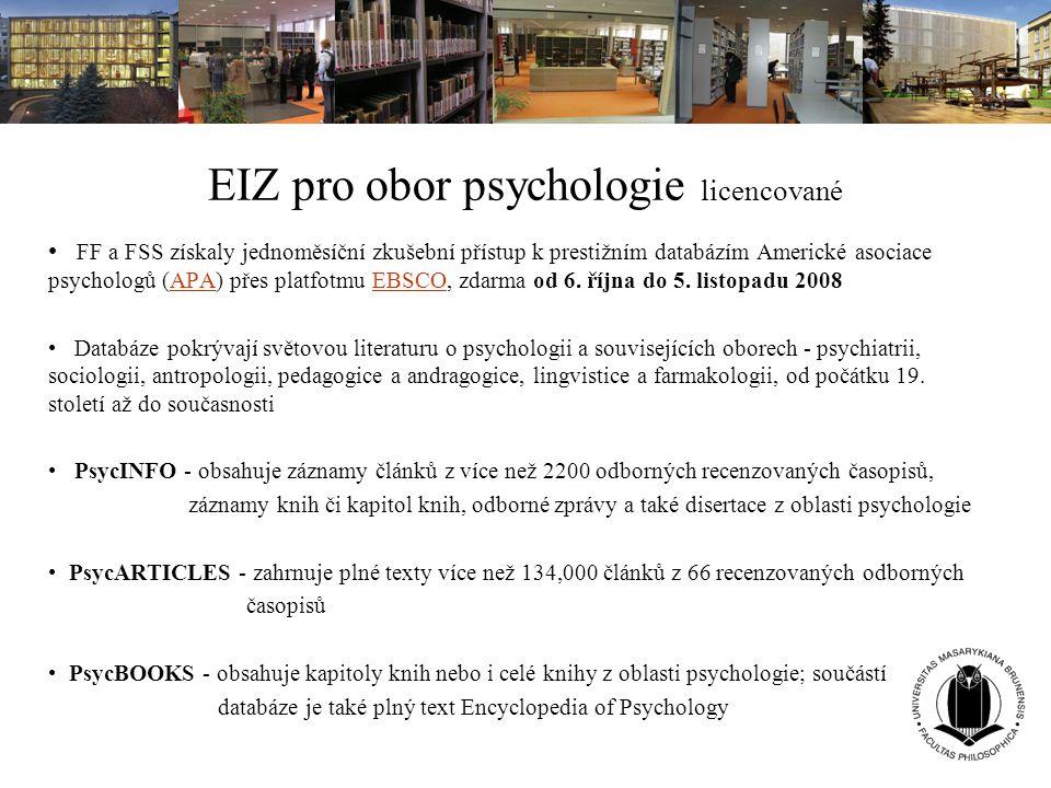 EIZ pro obor psychologie licencované