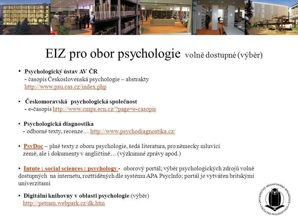 EIZ pro obor psychologie volně dostupné (výběr)