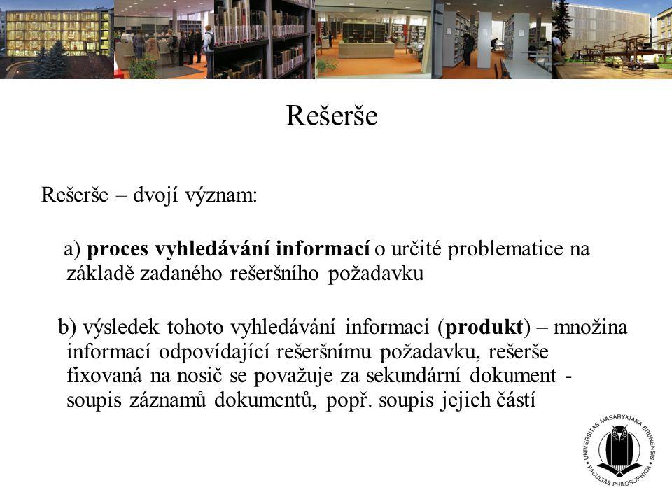 Rešerše Rešerše – dvojí význam: