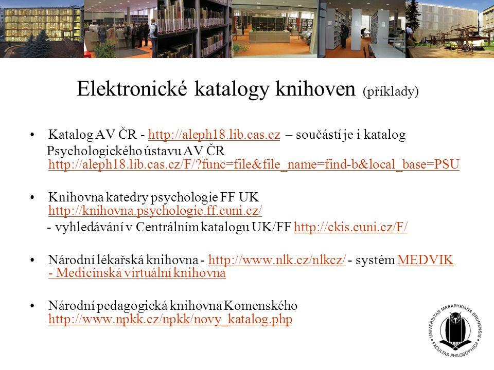 Elektronické katalogy knihoven (příklady)