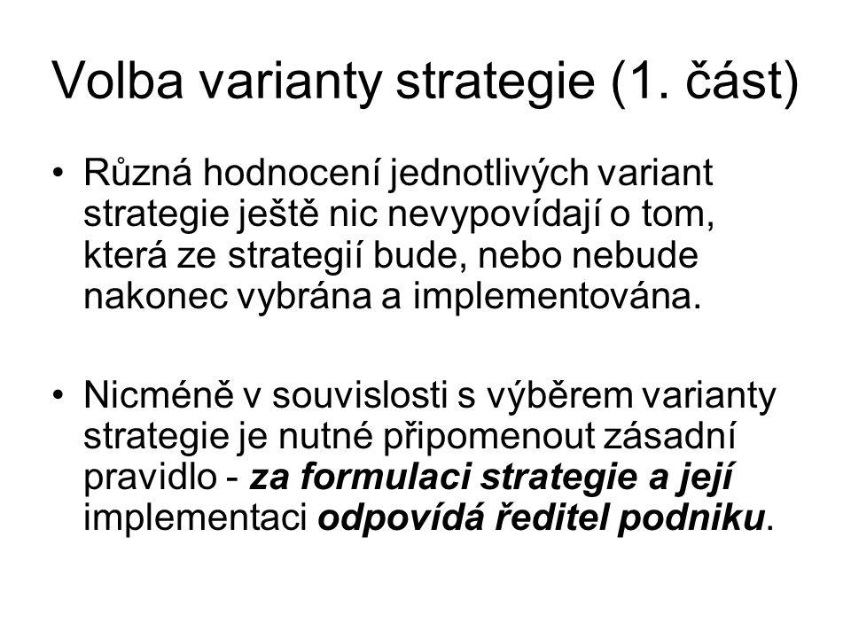 Volba varianty strategie (1. část)