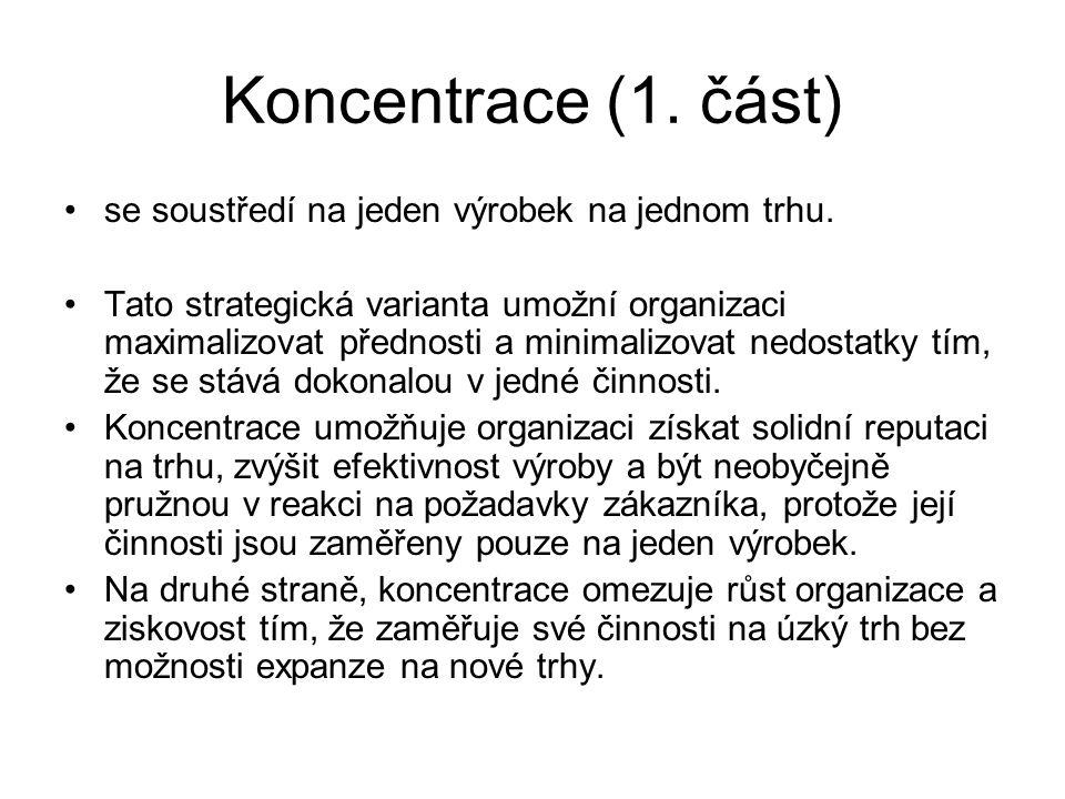 Koncentrace (1. část) se soustředí na jeden výrobek na jednom trhu.