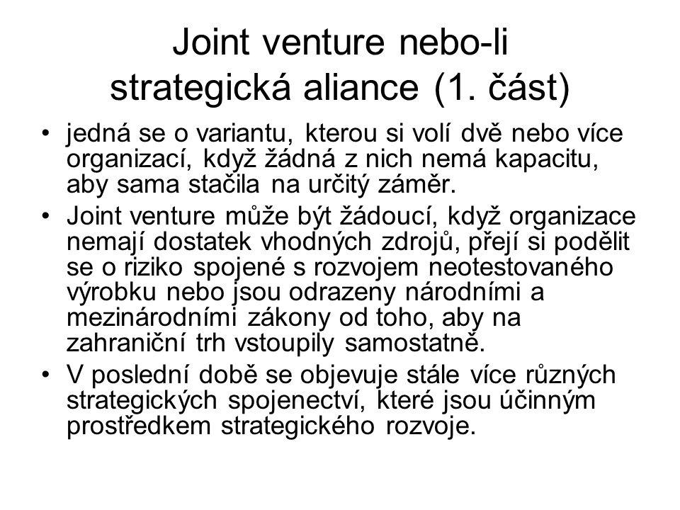 Joint venture nebo-li strategická aliance (1. část)