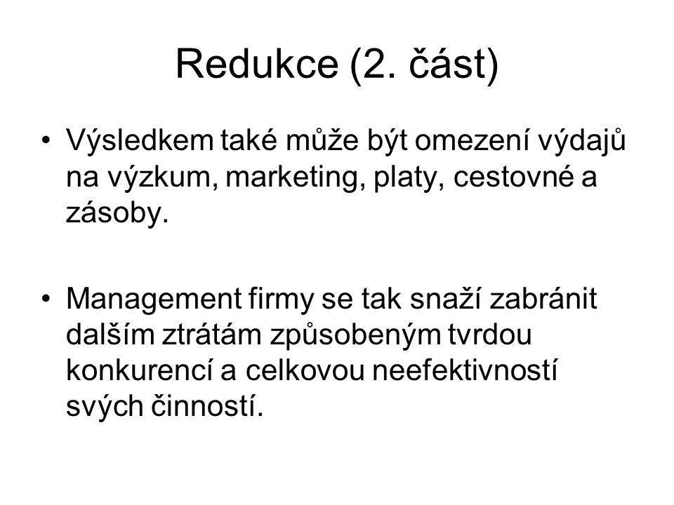 Redukce (2. část) Výsledkem také může být omezení výdajů na výzkum, marketing, platy, cestovné a zásoby.
