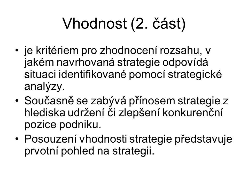 Vhodnost (2. část) je kritériem pro zhodnocení rozsahu, v jakém navrhovaná strategie odpovídá situaci identifikované pomocí strategické analýzy.