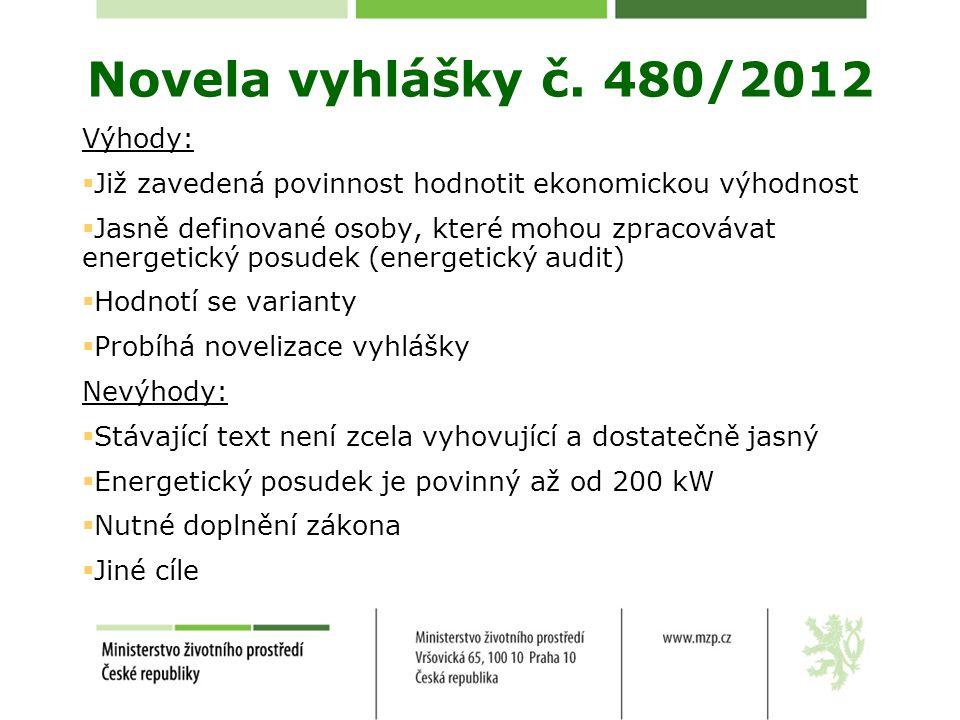 Novela vyhlášky č. 480/2012 Výhody: