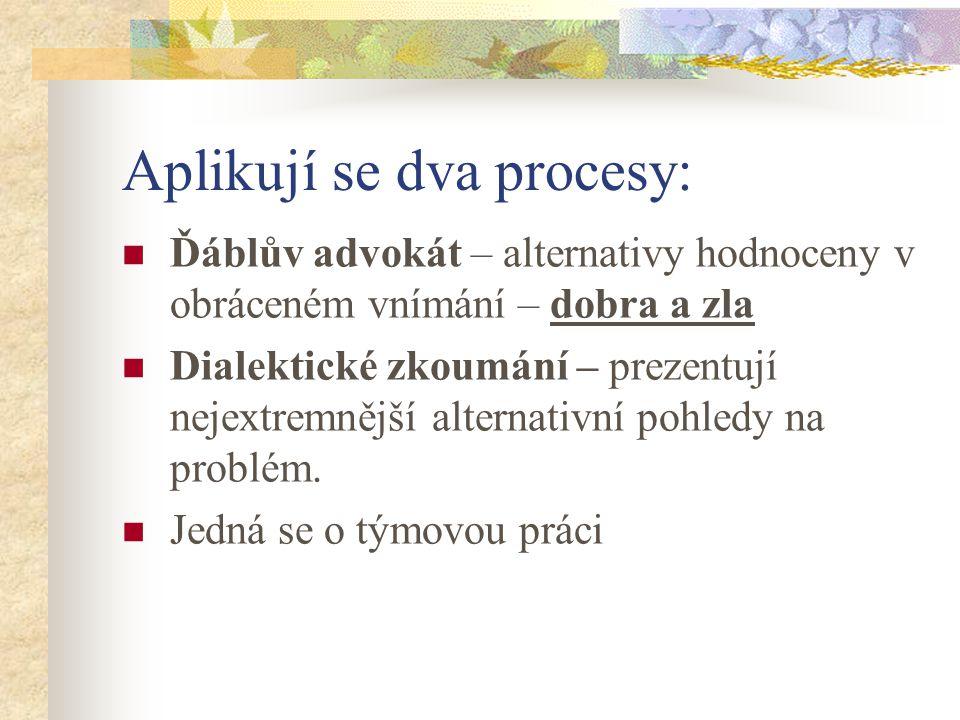 Aplikují se dva procesy: