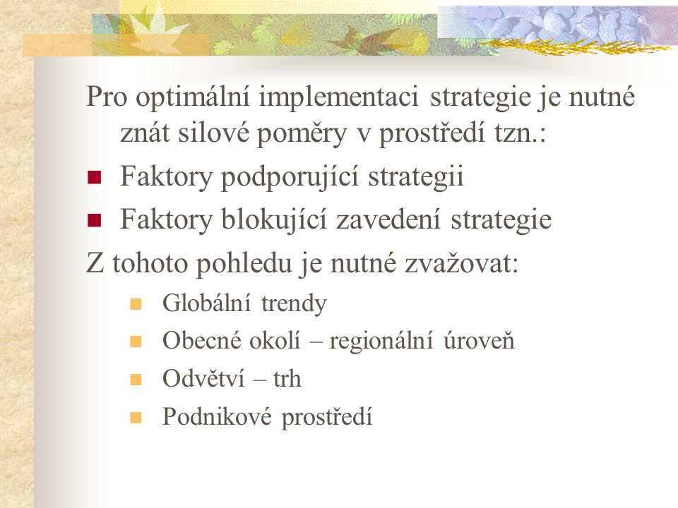 Faktory podporující strategii Faktory blokující zavedení strategie